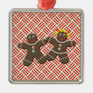 Cute Gingerbread Couple Girl Boy Mr. Mrs Christmas Metal Ornament
