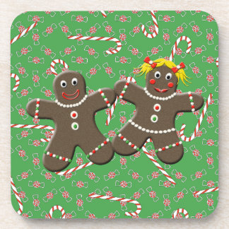 Cute Gingerbread Couple Love Christmas Candy Coasters