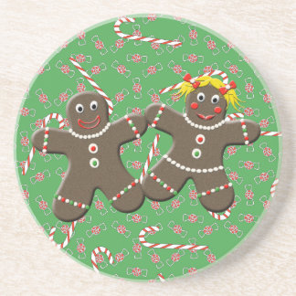Cute Gingerbread Couple Love Gingerbread Cookies Beverage Coasters