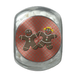Cute Gingerbread Couple Love Gingerbread Cookies Glass Jars