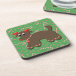Cute Gingerbread Dog Festive Christmas Candies Drink Coaster