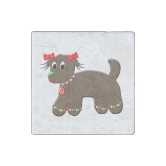 Cute Gingerbread Doggy Christmas Puppy Stone Magnet