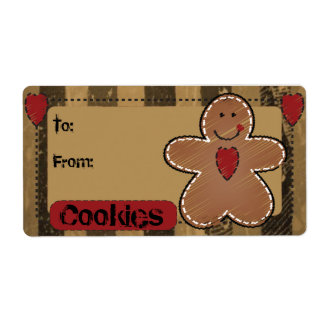 Cute Gingerbread Gift Tag Label