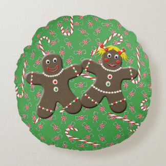 Cute Gingerbread Girl & Boy Christmas Candy Canes Round Pillow