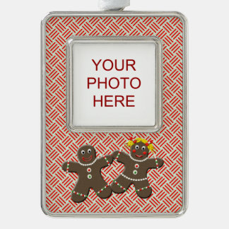 Cute Gingerbread Girl Boy Man Woman Couple Custom Silver Plated Framed Ornament