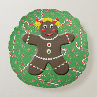 Cute Gingerbread Girl Christmas Candy Canes Round Pillow