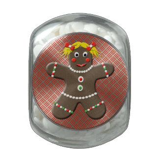 Cute Gingerbread Girl Festive Christmas Treats Glass Jar