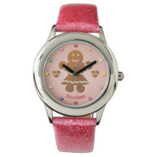 Cute Gingerbread Girl With Editable Name Wristwatch