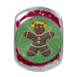 Cute Gingerbread Girl Woman Christmas Candy Canes Jelly Belly Candy Jar