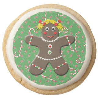 Cute Gingerbread Girl Woman Christmas Candy Canes Round Shortbread Cookie