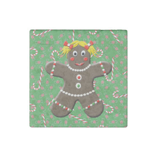Cute Gingerbread Girl Woman Christmas Candy Canes Stone Magnet