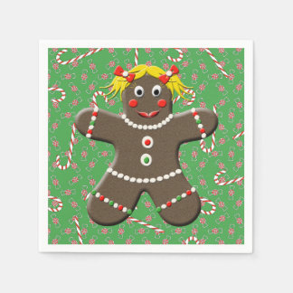 Cute Gingerbread Girl Woman Christmas Candy Canes Paper Napkin