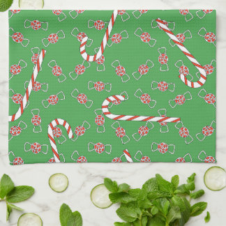 Cute Gingerbread Girl Woman Christmas Candy Canes Towel