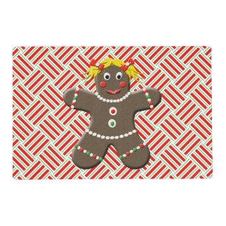 Cute Gingerbread Girl Woman Christmas Holiday Red Placemat