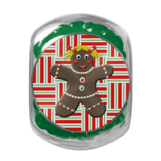 Cute Gingerbread Girl Woman Christmas Red Holiday Jelly Belly Candy Jars