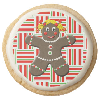 Cute Gingerbread Girl Woman Christmas Red Holiday Round Shortbread Cookie