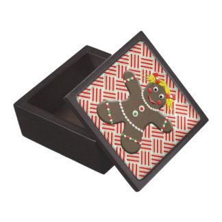 Cute Gingerbread Girl Woman Christmas Red Xmas Jewelry Box