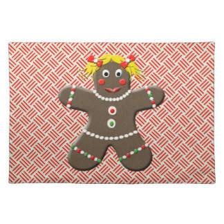 Cute Gingerbread Girl Woman Red Christmas Holiday Placemat