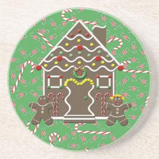 Cute Gingerbread House Boy Girl Christmas Candy Coasters