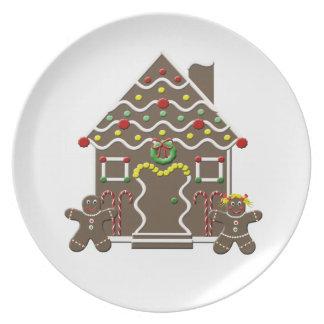 Cute Gingerbread House Boy Girl Christmas Dinner Plate