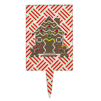 Cute Gingerbread House Boy Girl Christmas Festive Cake Topper