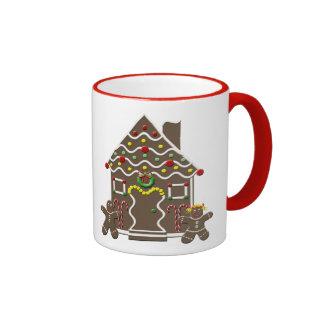 Cute Gingerbread House Boy Girl Christmas Festive Ringer Mug