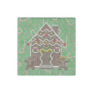 Cute Gingerbread House Boy Girl Christmas Green Stone Magnet