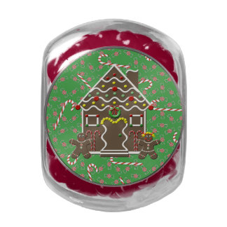 Cute Gingerbread House Christmas Candy Canes Jelly Belly Candy Jars