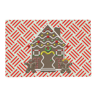Cute Gingerbread House Christmas Cookies Festive Placemat