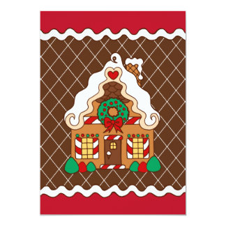 Cute Gingerbread House Christmas Party Invitations