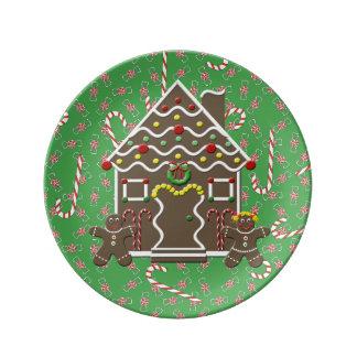 Cute Gingerbread House Couple Boy & Girl Christmas Dinner Plate