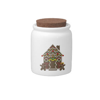 Cute Gingerbread House Gingerbread Couple Candy Jar