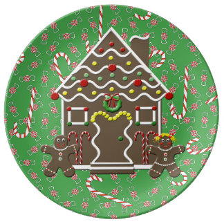 Cute Gingerbread House Gingerbread Couple Dinner Plate