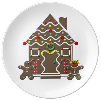 Cute Gingerbread House Gingerbread Couple Plate