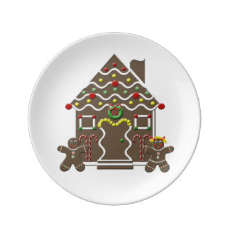 Cute Gingerbread House Gingerbread Man & Girl Porcelain Plate