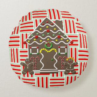 Cute Gingerbread House Girl Boy Christmas Festive Round Pillow