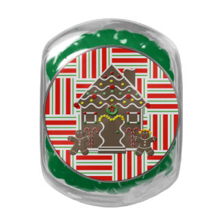 Cute Gingerbread House Girl Boy Christmas Holiday Jelly Belly Candy Jar