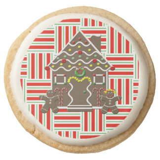 Cute Gingerbread House Girl Boy Christmas Holiday Round Shortbread Cookie
