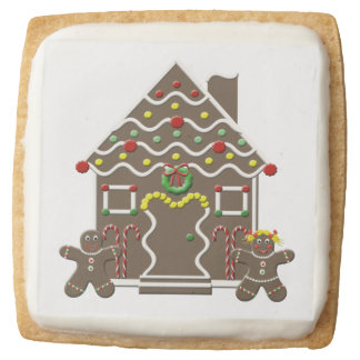 Cute Gingerbread House Girl Boy Christmas Holiday Square Shortbread Cookie