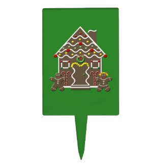 Cute Gingerbread House Green Christmas Cake Topper