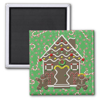 Cute Gingerbread House Man Girl Christmas Candy Magnet