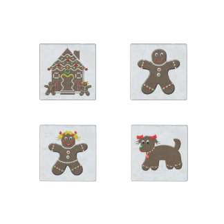Cute Gingerbread House Puppy Dog Man Girl Family Stone Magnet