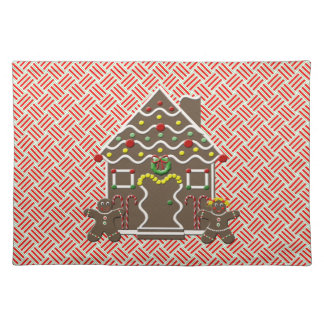 Cute  Gingerbread House Red Christmas Placemat