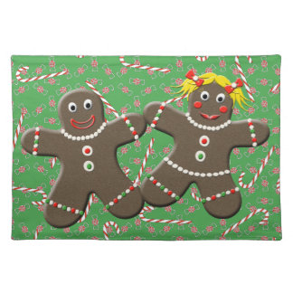 Cute Gingerbread Husband & Wife Holiday Placemat