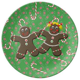 Cute Gingerbread Husband & Wife Man & Woman Plate