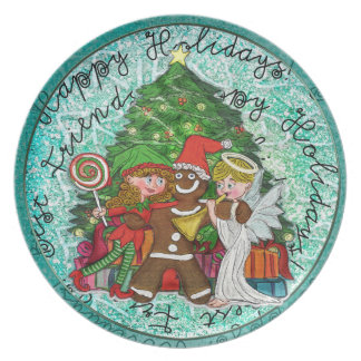 Cute Gingerbread man and friends Dinner Plate