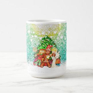 Cute Gingerbread man and friends Classic White Coffee Mug