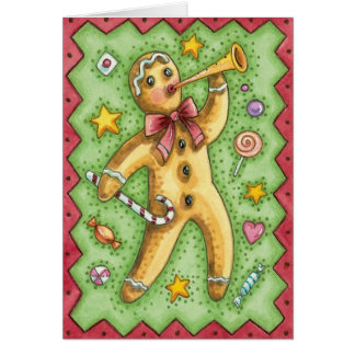 Cute Gingerbread Man Blowing Horn, Christmas Candy Card