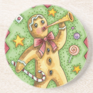 Cute Gingerbread Man Blowing Horn, Christmas Candy Drink Coaster