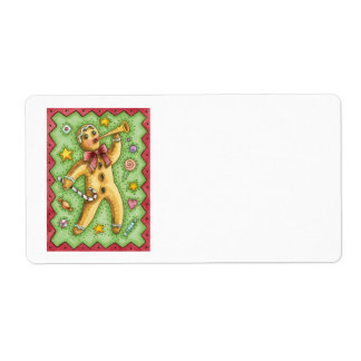 Cute Gingerbread Man Blowing Horn, Christmas Candy Label